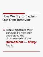 how we try to explain our own behavior