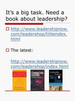 it s a big task need a book about leadership