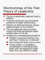 shortcomings of the trait theory of leadership