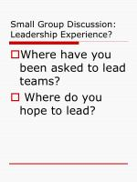 small group discussion leadership experience