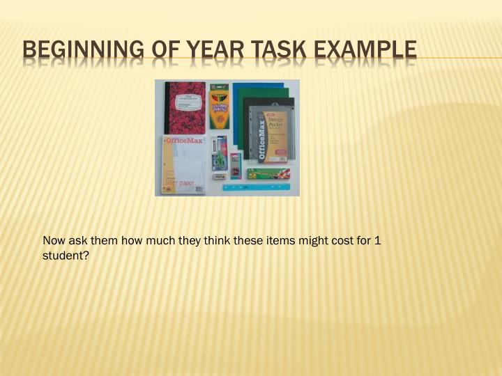 Beginning of Year Task Example