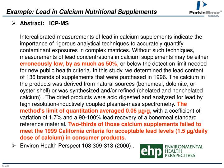 Example: Lead in Calcium Nutritional Supplements