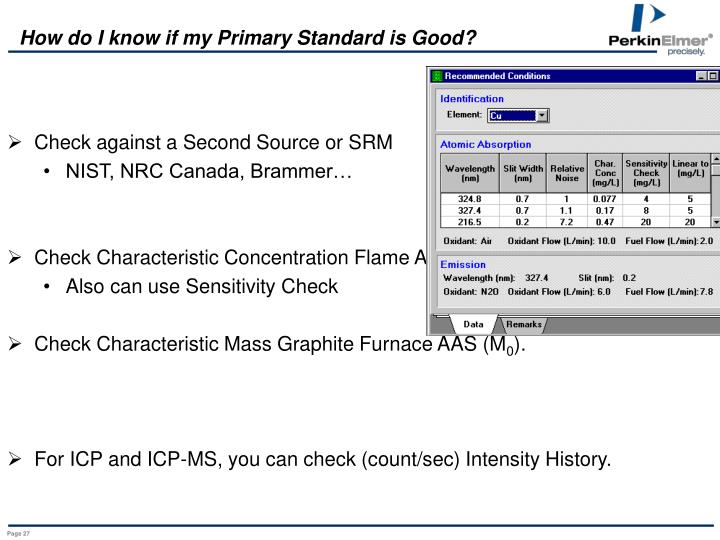 How do I know if my Primary Standard is Good?