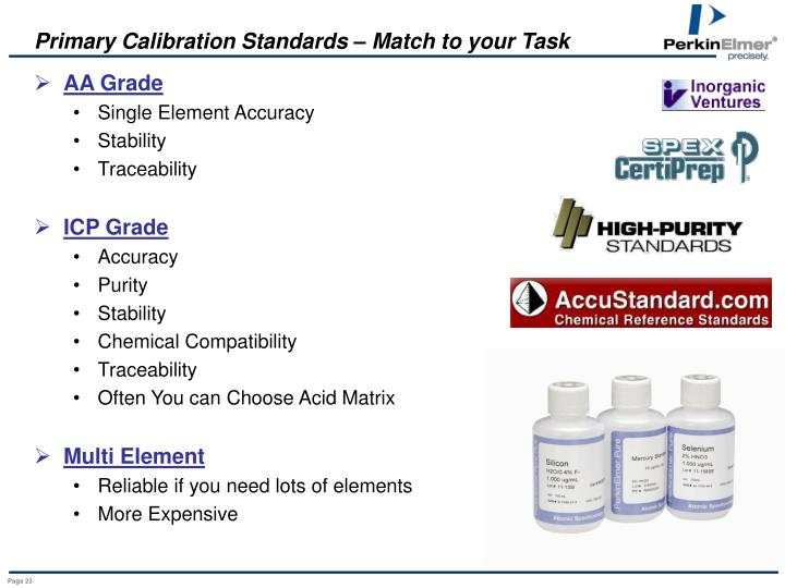 Primary Calibration Standards – Match to your Task