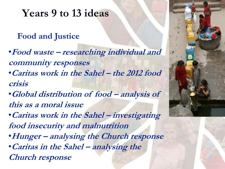 Years 9 to 13 ideas