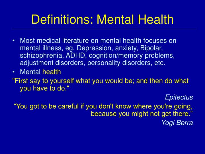 Definitions: Mental Health