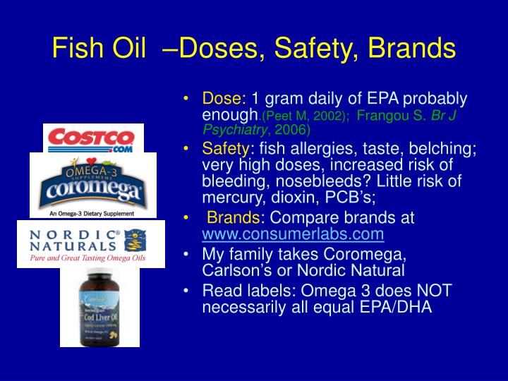 Fish Oil  –Doses, Safety, Brands