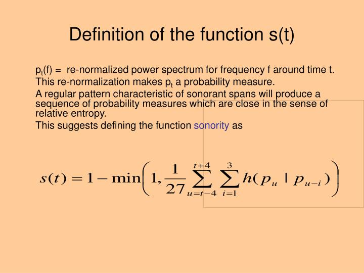 Definition of the function s(t)