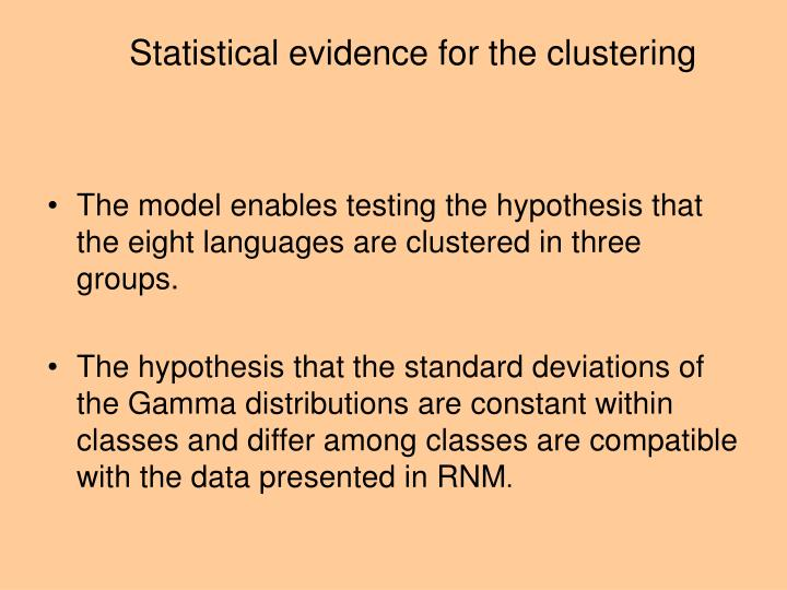 Statistical evidence for the clustering