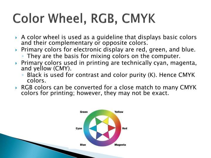 Color Wheel, RGB, CMYK