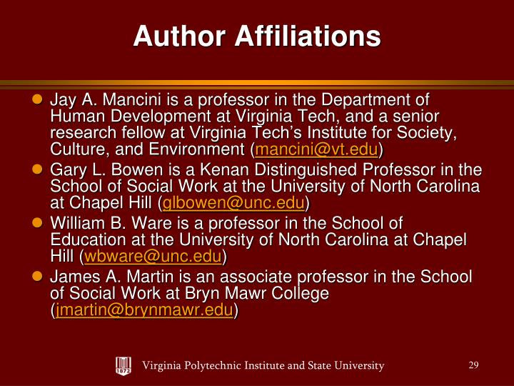Jay A. Mancini is a professor in the Department of Human Development at Virginia Tech, and a senior research fellow at Virginia Tech's Institute for Society, Culture, and Environment (