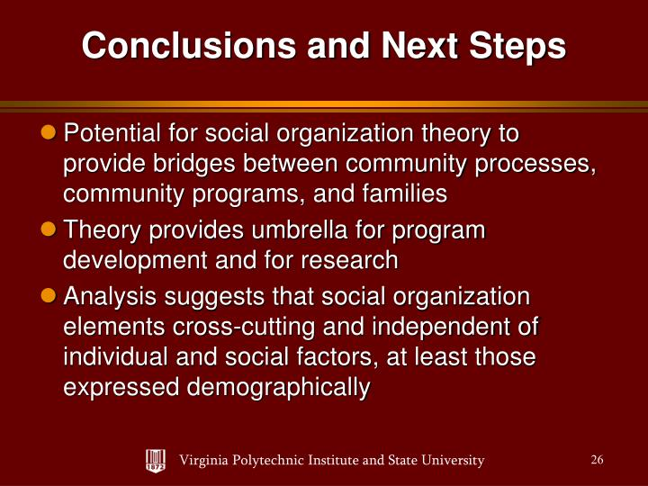 Potential for social organization theory to provide bridges between community processes, community programs, and families