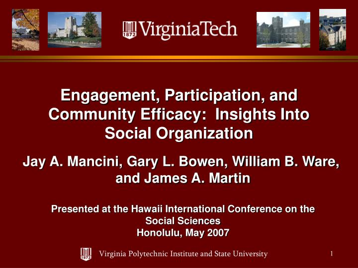 Engagement participation and community efficacy insights into social organization