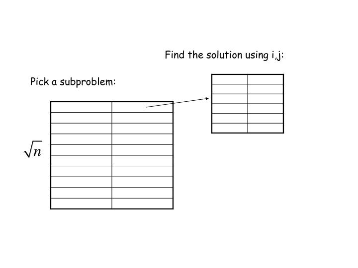Find the solution using i,j: