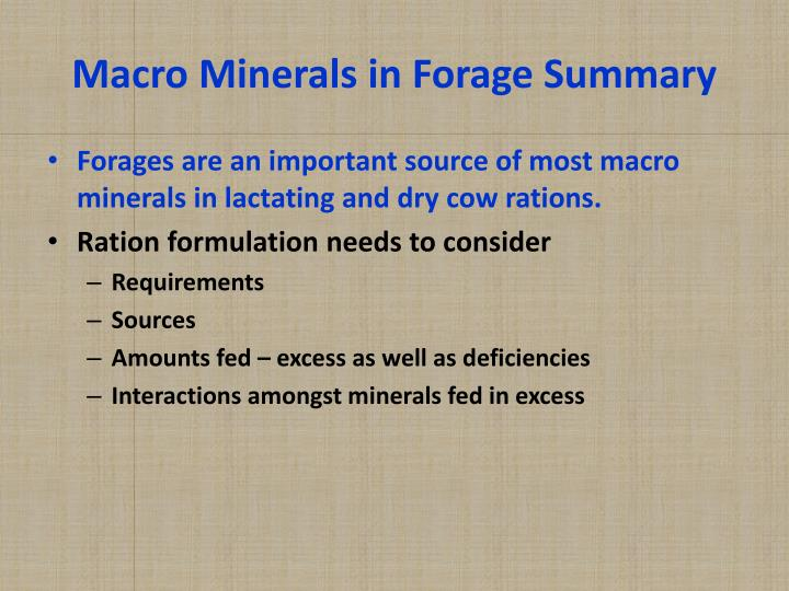 Macro Minerals in Forage Summary