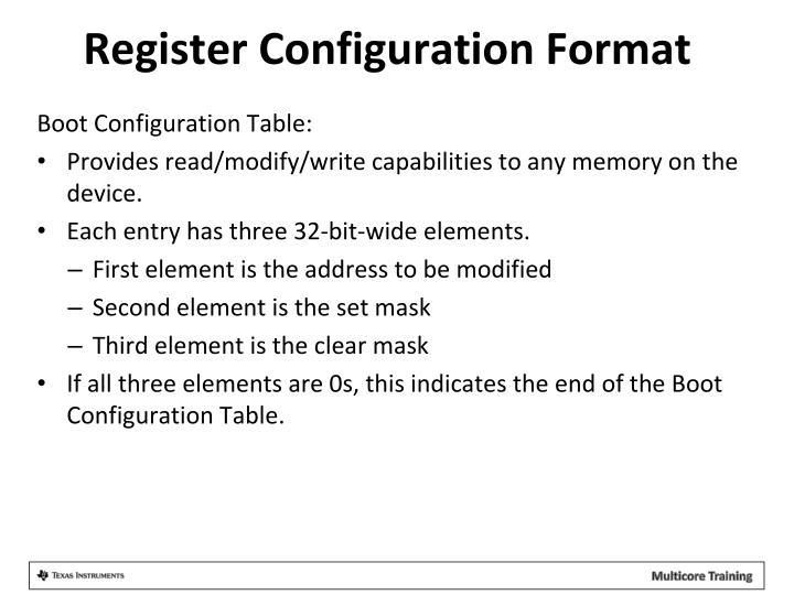 Register Configuration Format