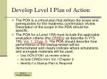 develop level i plan of action
