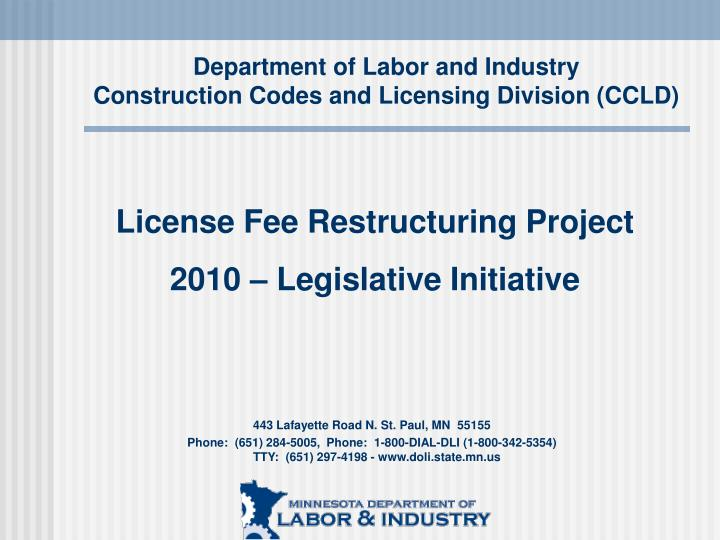 Department of labor and industry construction codes and licensing division ccld