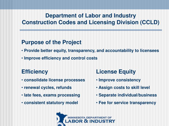 Department of labor and industry construction codes and licensing division ccld1