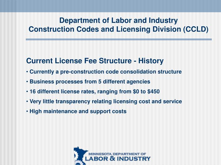 Department of labor and industry construction codes and licensing division ccld2
