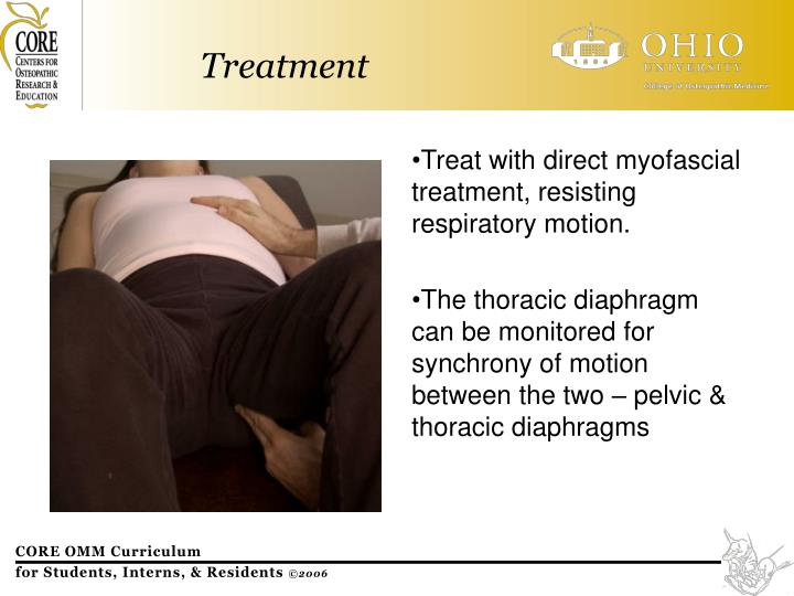 Treat with direct myofascial treatment, resisting respiratory motion.