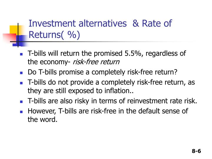 Investment alternatives  & Rate of Returns( %)