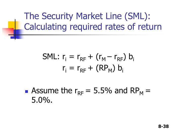 The Security Market Line (SML):