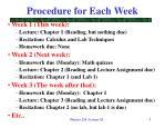 procedure for each week