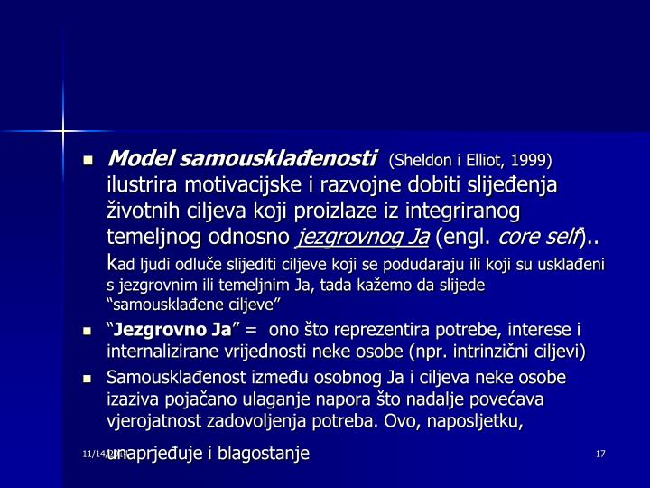 Model samousklađenosti