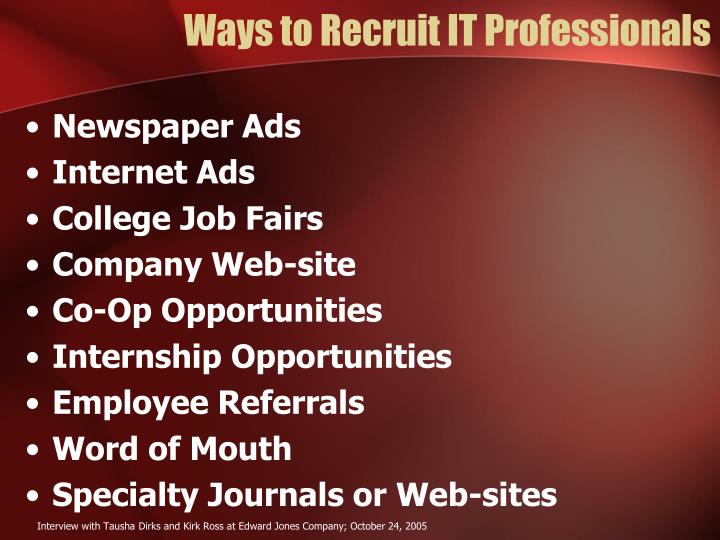 Ways to Recruit IT Professionals