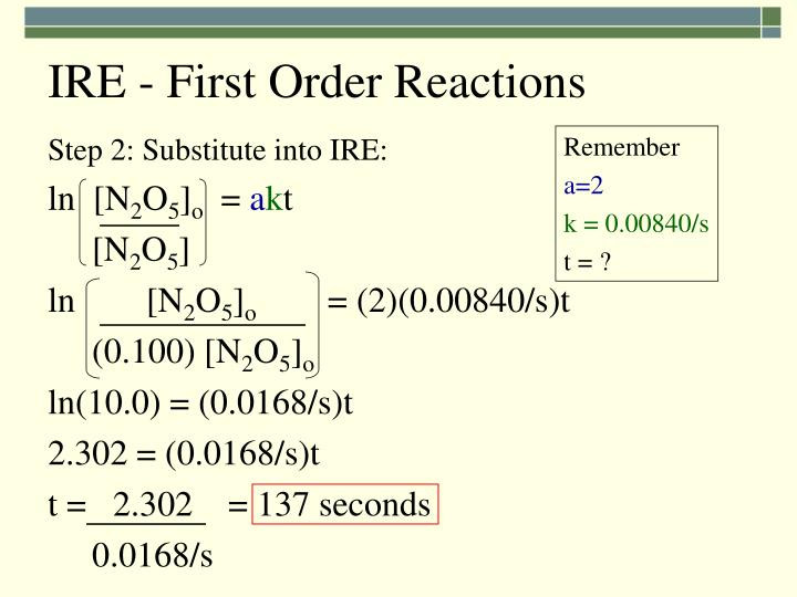 IRE - First Order Reactions