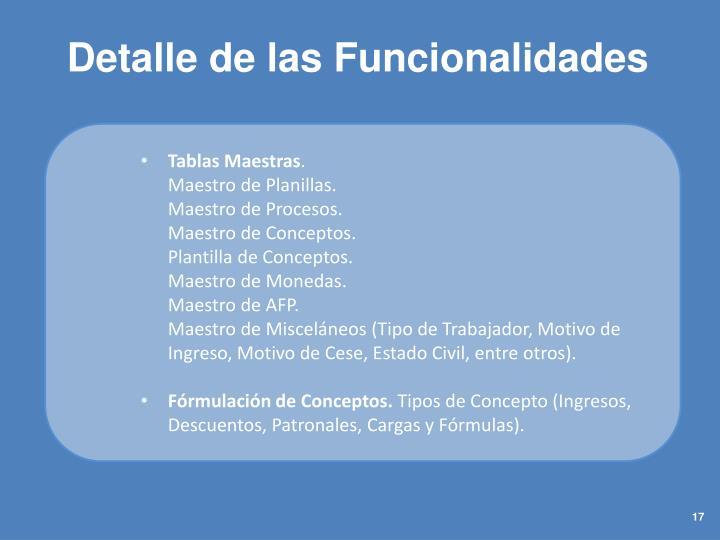 Detalle de las Funcionalidades