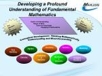 d eveloping a profound understanding of fundamental mathematics