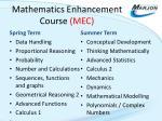 mathematics enhancement course mec