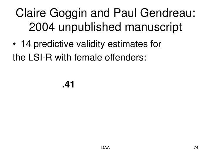 Claire Goggin and Paul Gendreau: 2004 unpublished manuscript