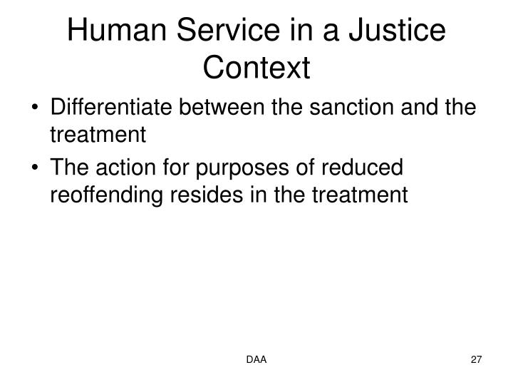 Human Service in a Justice Context