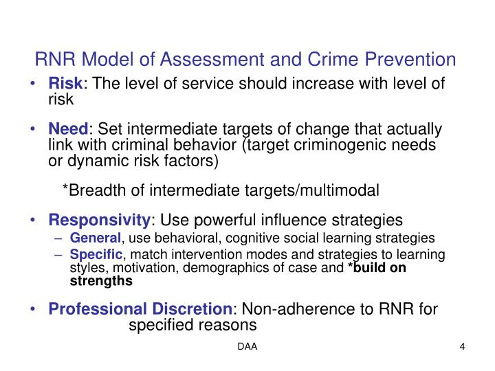 RNR Model of Assessment and Crime Prevention