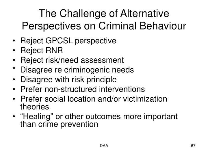 The Challenge of Alternative Perspectives on Criminal Behaviour