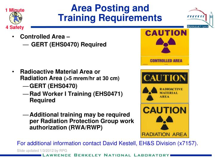 area posting and training requirements n.