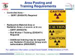 area posting and training requirements