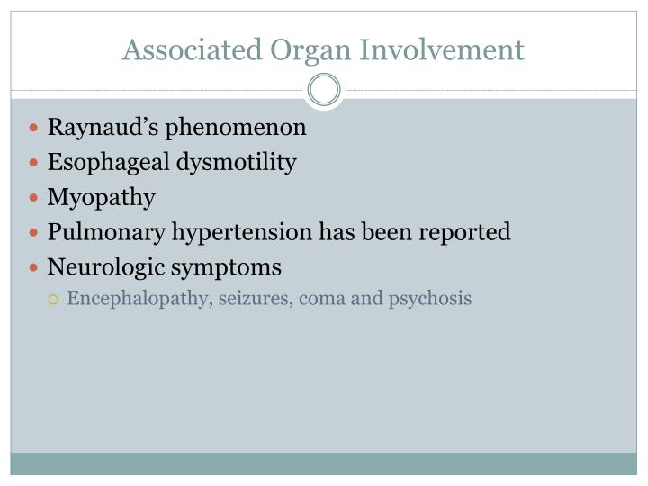 Associated Organ Involvement