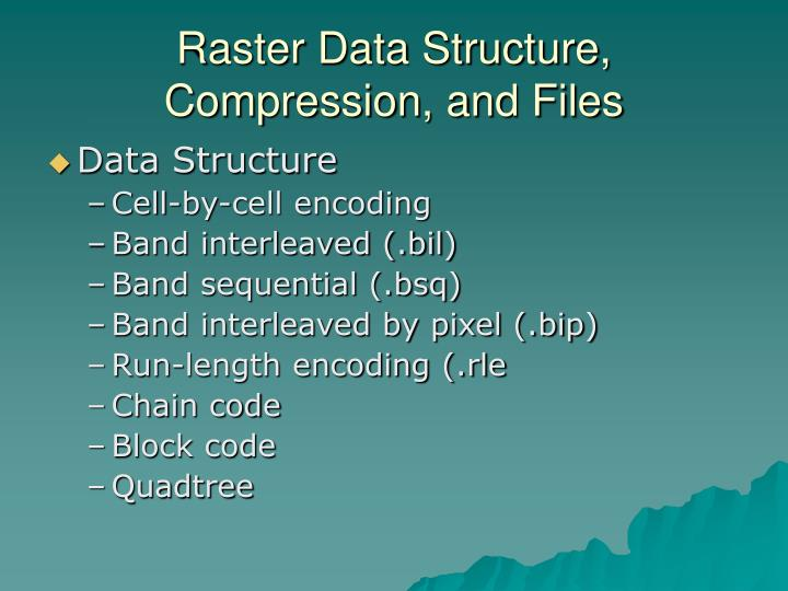 Raster Data Structure, Compression, and Files