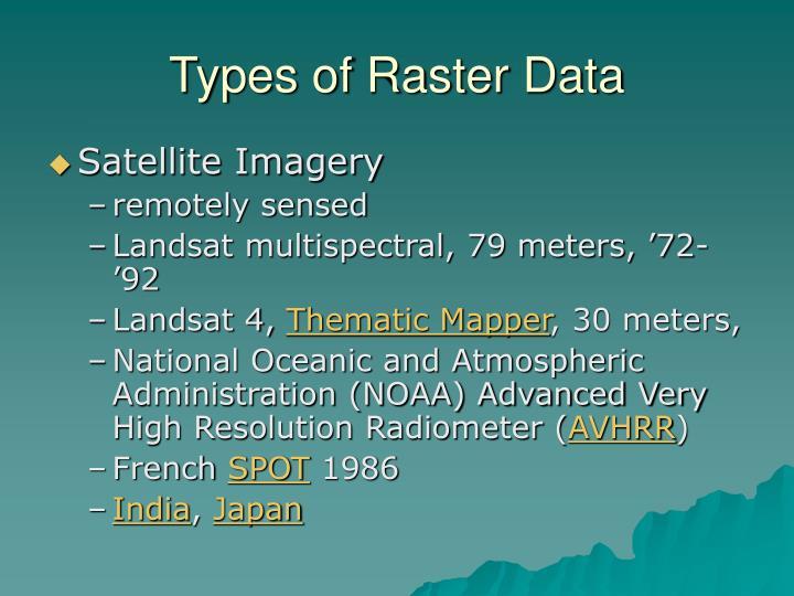 Types of Raster Data