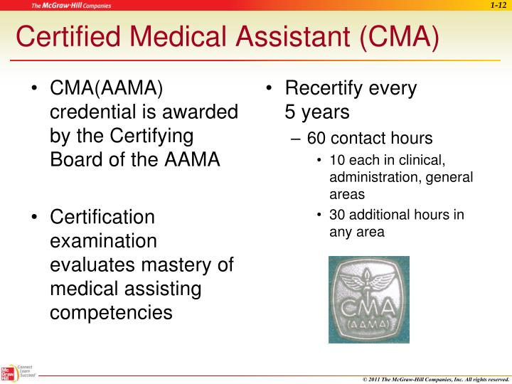 CMA(AAMA) credential is awarded by the Certifying Board of the AAMA