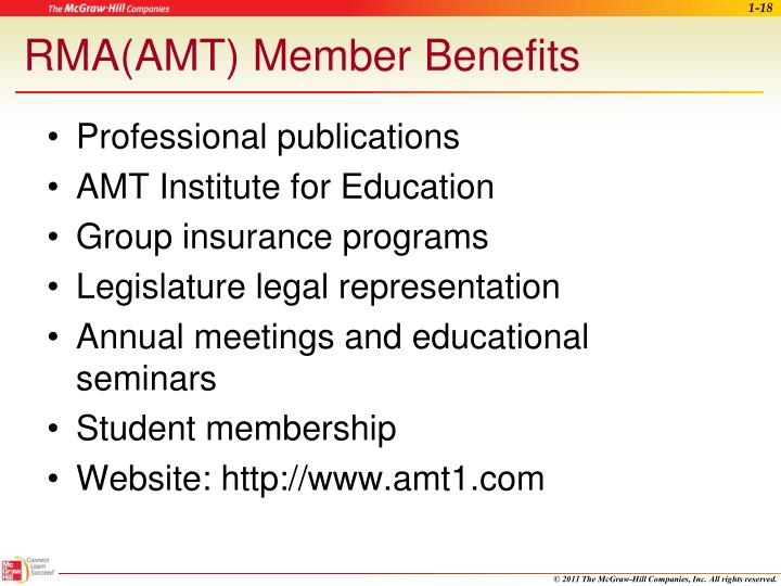 RMA(AMT) Member Benefits