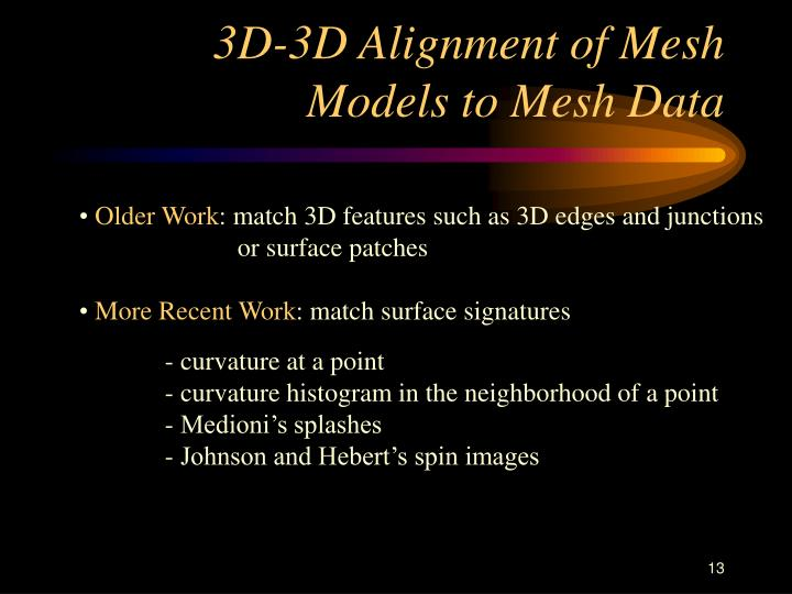 3D-3D Alignment of Mesh Models to Mesh Data