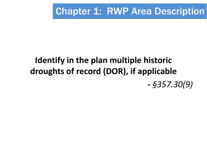Chapter 1:  RWP