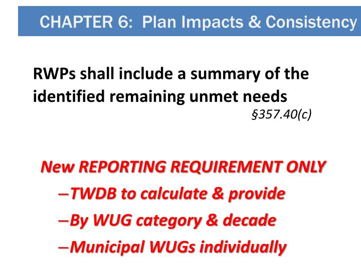 CHAPTER 6:  Plan Impacts & Consistency