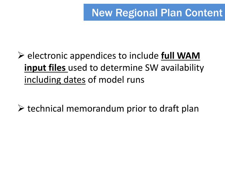 New Regional Plan Content