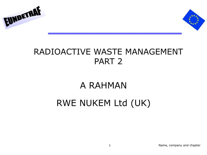 radioactive waste management part 2 n.